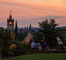 Nightfall over Edinburgh from Calton Hill by Miles Gray