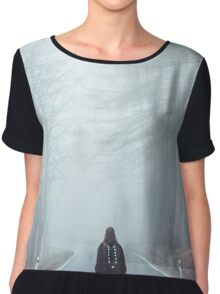Sad lonely woman walking alone Chiffon Top