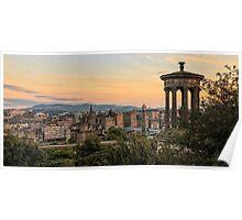 Sunset over Edinburgh Skyline Poster
