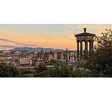 Sunset over Edinburgh Skyline Photographic Print