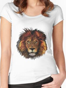 Lion Painting Women's Fitted Scoop T-Shirt