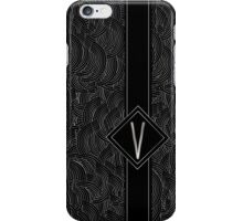 1920s Jazz Deco Swing Monogram black & silver letter V iPhone Case/Skin