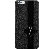 1920s Jazz Deco Swing Monogram black & silver letter Y iPhone Case/Skin