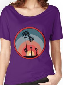 Palm Sunset - Red Women's Relaxed Fit T-Shirt