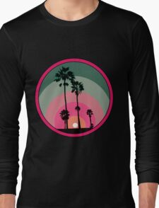 Palm Sunset - Pink Long Sleeve T-Shirt