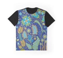 Fantasy Floral on Blue Graphic T-Shirt