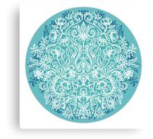 Spring Arrangement - teal & white floral doodle  Canvas Print