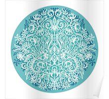 Spring Arrangement - teal & white floral doodle  Poster