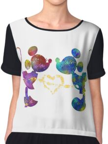 mickey and minnie watercolor  Chiffon Top