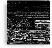 Pike Place Market: Black Canvas Print
