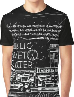 Pike Place Market: Black Graphic T-Shirt