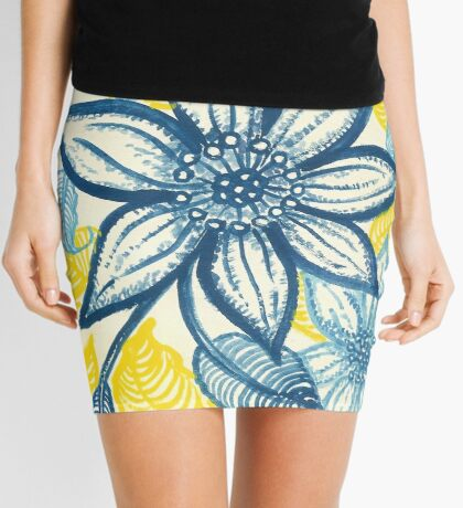 Flowers in blue and yellow Mini Skirt