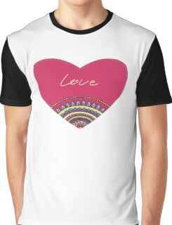 Doodle ornament heart. Colorful valentine's day card.  Graphic T-Shirt