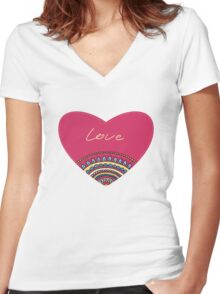 Doodle ornament heart. Colorful valentine's day card.  Women's Fitted V-Neck T-Shirt