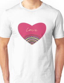 Doodle ornament heart. Colorful valentine's day card.  Unisex T-Shirt
