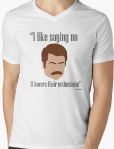I Like Saying No Mens V-Neck T-Shirt