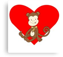 Baby Girl Monkey Heart Canvas Print