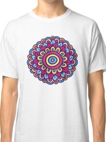 One colorful doodle flower. Hand drawn summer card. Classic T-Shirt