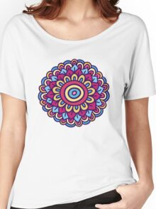 One colorful doodle flower. Hand drawn summer card. Women's Relaxed Fit T-Shirt