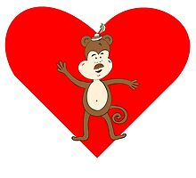 Mustache Monkey Heart by kwg2200