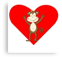 Smiling Girl Monkey Heart Canvas Print