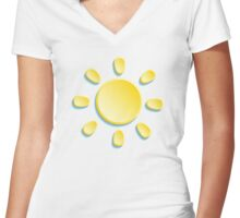 paper sun on turquoise background Women's Fitted V-Neck T-Shirt