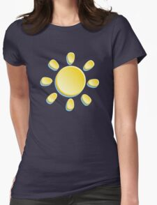 paper sun on turquoise background Womens Fitted T-Shirt