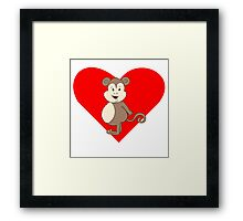 Fat Girl Monkey Heart Framed Print