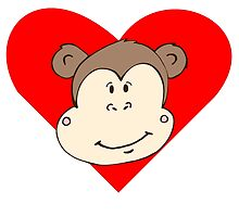 Smiling Monkey Face Heart by kwg2200