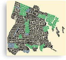 Bronx, New York City Typography Map Canvas Print