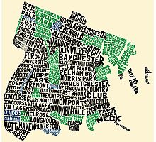 Bronx, New York City Typography Map Photographic Print