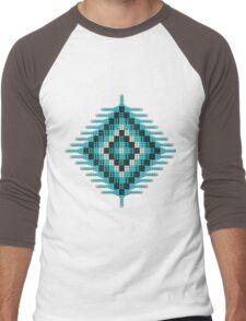 Turquoise Native Beadwork Sunburst Men's Baseball ¾ T-Shirt
