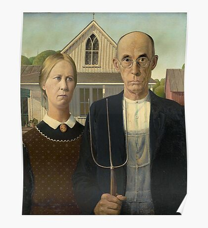 American Gothic, American, Gothic, Painting by, Grant Wood, Art Institute of Chicago. on BLACK Poster