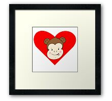 Silly Monkey Face Heart Framed Print
