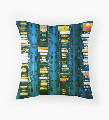 Vintage electronic board Throw Pillow