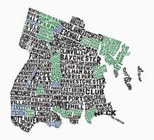 Bronx, New York City Typography Map One Piece - Short Sleeve