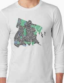 Bronx, New York City Typography Map Long Sleeve T-Shirt