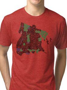 Bronx, New York City Typography Map Tri-blend T-Shirt