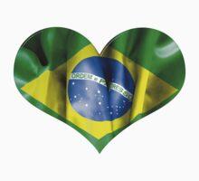 Brazil Flag Textured Heart Kids Tee