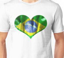 Brazil Flag Textured Heart Unisex T-Shirt
