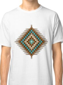 Brown and Turquoise Native Beadwork Sunburst Classic T-Shirt