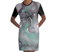 Green & Purple Marble Graphic T-Shirt Dress