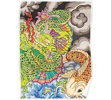 Koi dragon and koi fish Poster