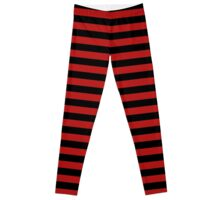 Blood Red and Black Horizontal Witch Stripes Leggings