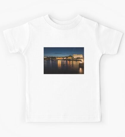 London Night Magic - Silky Reflections on the Thames River Kids Tee
