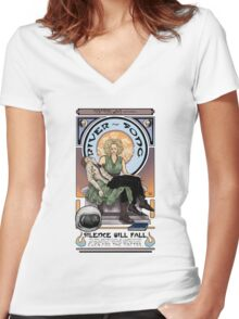 Silence Will Fall: The River's Pietà Women's Fitted V-Neck T-Shirt