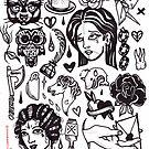 black white tattoo flash sheet by resonanteye