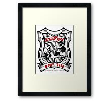 muay thai fight badge retro badge thailand martial art shirt sticker Framed Print