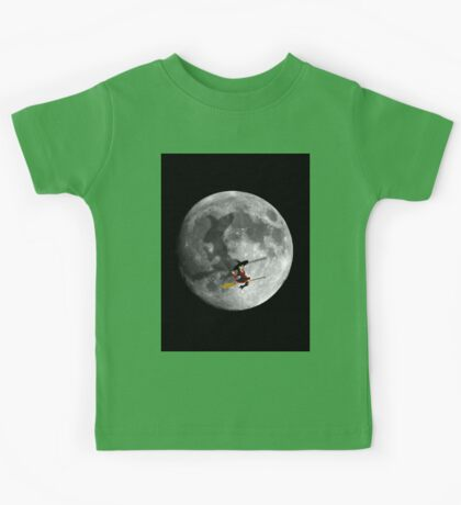 Full Moon Blood Red Witch Fly By Kids Tee