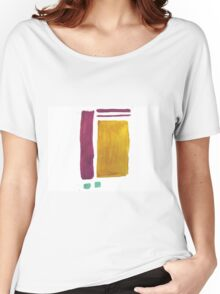 Purple and Gold Abstract Pattern Women's Relaxed Fit T-Shirt